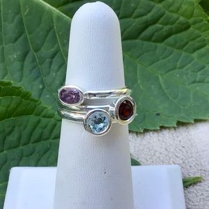 Jewelry - 🌺Sterling Silver Stacking Rings-Garnet